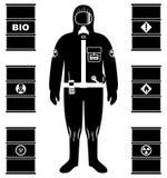 产业概念 工作者黑剪影防护套服的 油的,生物燃料金属桶,易爆,化工,放射性 皇族释放例证