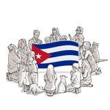 人们为古巴祈祷 皇族释放例证
