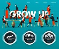 人们工作,雇员为GROW公司谈论 可能使用为,登陆的页,模板,ui,网,流动应用程序,海报 皇族释放例证