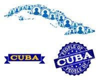 人结构的古巴和难看的东西邮票军用镶嵌地图  皇族释放例证