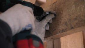 人的手运作的手套的扭转在一个木板的自动攻丝螺杆 拧紧在木的螺丝 股票视频
