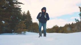 人脚在深雪进来 慢动作录影 有背包步行的人旅客在雪森林生活方式冬天 股票视频