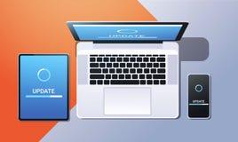 互联网连接软件安装新的系统更新网络技术概念油罐顶部角钢视图桌面片剂 皇族释放例证