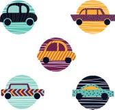 五辆汽车的汇集 在平的设计的现代汽车 库存例证
