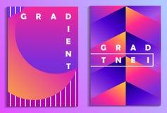 五颜六色的梯度海报集合 Synthwave,未来主义背景 Retrowave 向量 向量例证