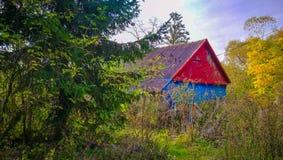 五颜六色的木客舱在森林 库存照片