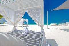 令人惊讶的暑假背景 海滩豪华风景与白色海滩机盖和懒人的 豪华海滩海岛 免版税库存照片