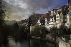 从桥梁的Tuebingen 免版税库存照片