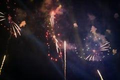 从泰国的美丽的新年烟花 免版税图库摄影