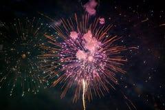 从泰国的美丽的新年烟花 免版税库存照片