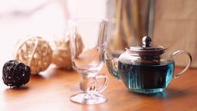 从花Clitoria的蓝色蝴蝶豌豆茶在咖啡馆的桌上 花卉蓝色泰国减肥的茶 健康,戒毒所 股票视频