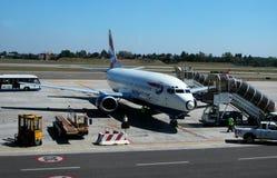 从英国航空的飞机在马克尼机场,波隆纳,意大利 库存图片