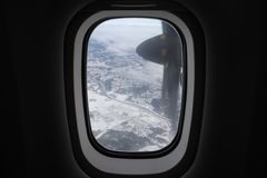 从飞机舷窗的看法 库存图片