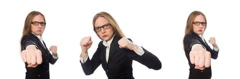 企业概念的滑稽的女实业家在白色 免版税库存图片