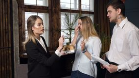 会议的年轻女性建筑师与客户夫妇  股票录像