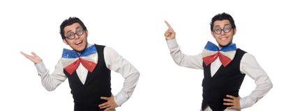 佩带巨型蝶形领结的滑稽的人 免版税库存图片