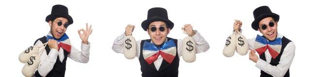 佩带巨型蝶形领结的滑稽的人 免版税库存照片