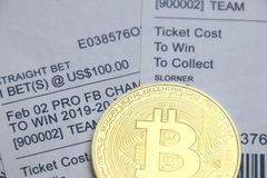 体育打赌了与bitcoin 免版税库存照片