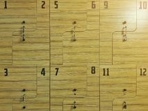 体育衣物柜 健身衣物柜 关闭 免版税库存照片