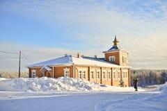 俄国冬天在修道院里 免版税库存图片