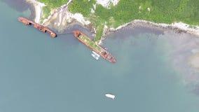 俄罗斯的联邦安全部门海岸卫队船顶视图  股票录像