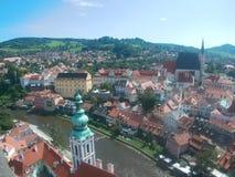 Český Krumlov panorama royalty-vrije stock foto's