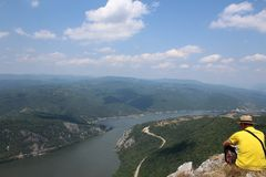 Đerdap gorge. View across the Danube from the Serb side to the neighboring country of Romania Stock Photography