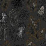 Ädelstenar sömlös modellvektor för kristaller royaltyfri illustrationer