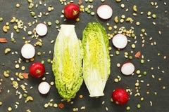 Ädelstengrönsallat, rädisa och ingredienser för torkad grönsak Arkivbilder