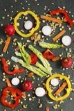 Ädelstengrönsallat, rädisa och ingredienser för torkad grönsak Arkivfoto