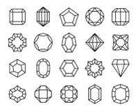 Ädelstenlinje Kristall för gemstones för geometrisk för ädelstendiamanter dyrbar för juvlar för översikt för form sten för karat  stock illustrationer