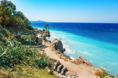 Ägäische Küstenlinie der Stadt von Rhodes Rhodes, Griechenland Lizenzfreies Stockfoto