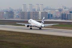 Ägäischer Airbus A320 Stockfotos