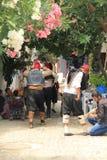 """Ägäischer Bereich - Tenedos-Insel, die Schauspieler und die Kostüme eines der Liebesgeschichte """"des letzten Buchstaben"""" Films Stockbild"""