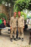Ägäischer Bereich - Tenedos-Insel, die Schauspieler und die Kostüme eines Liebesgeschichteletztbuchstabefilms Stockfotografie