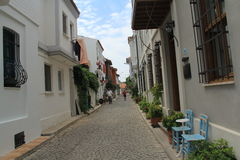 Ägäischer Bereich - Tenedos-Insel, Kunst, an den Shops, Häuser Stockfoto