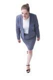 äganderätt för home tangent för affärsidé som guld- ner skyen till övre sikt Affärskvinna som ser upp Royaltyfri Foto