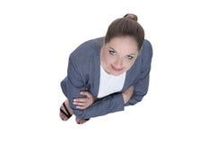 äganderätt för home tangent för affärsidé som guld- ner skyen till övre sikt Affärskvinna som ser upp Fotografering för Bildbyråer