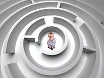 äganderätt för home tangent för affärsidé som guld- ner skyen till pojke i labyrint 3D Royaltyfria Bilder