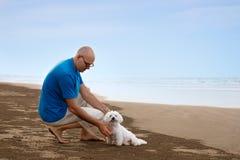 Ägare som ser till hans hund på stranden arkivfoto