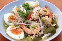 Ägg för auberginesalladwhit och räkor, Thailändsk-mat Fotografering för Bildbyråer