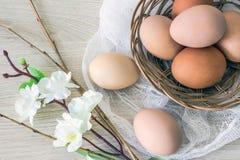 Ägg för höna` s i vide- korg och pil till påsken semestrar Royaltyfria Foton