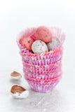 Ägg för påskchokladkortkort Royaltyfri Bild