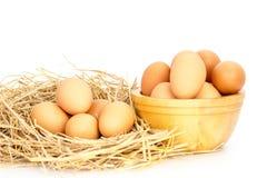 Ägg, fega ägg i en korg och en bunke Arkivfoto