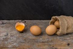 Ägg från den bruna säcken och äggula i skalägg Arkivfoton