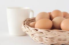 Ägg i basket01en Fotografering för Bildbyråer