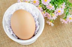 Ägg i den vita bunken Royaltyfria Foton