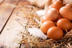 Ägg i en hög av hö royaltyfri foto
