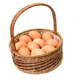 Ägg i en korg Arkivbild
