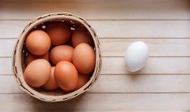 Ägg i en korg - en som är olik Royaltyfria Foton